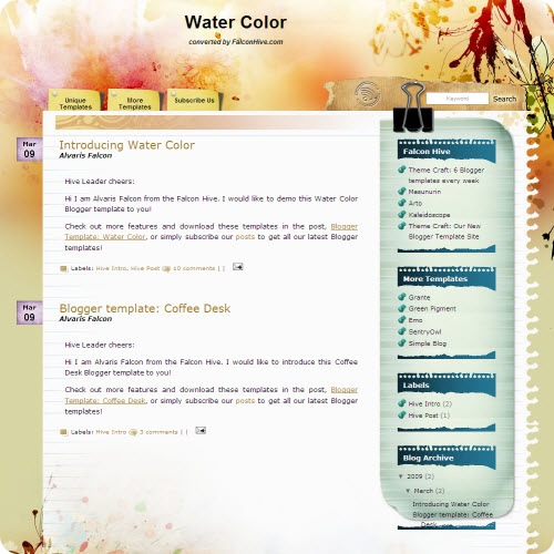 water-color-blogger-template