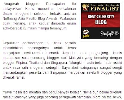 Dicalon sebagai Finalist Best Blog dari Nuffnang