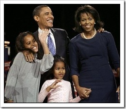 Obama and his family