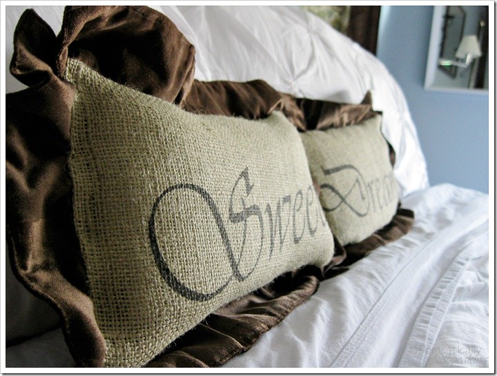 Sweet Dreams Burlap and Velvet Ruffled Pillows