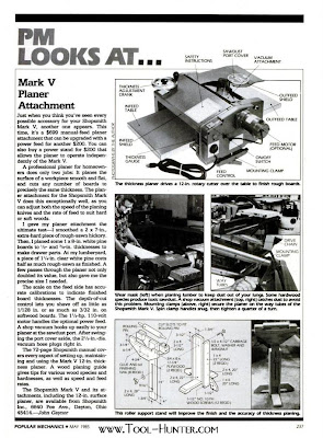 1985 Shopsmith Mark V Mounted 12 Quot Planer Article Tool