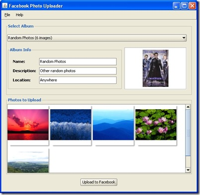 FaceBook Photos Uploader