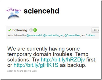 ScienceHD Twitter