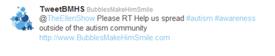 BubblesMakeHimSmile.com's tweet to Ellen Degeneres