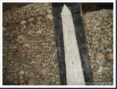 Stacks of bones and skulls inside the Catacombs