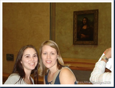 My cousin Sarah and I in front of the Mona Lisa