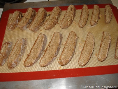 diagonal slices arranged on the baking sheet, ready for the oven