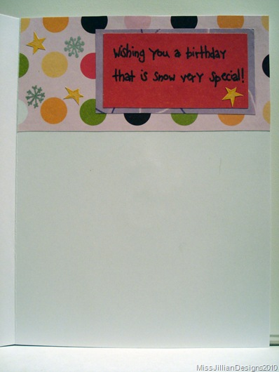 Birthday Card - Snowy Birthday - Inside