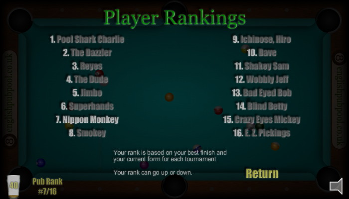 American 8-Ball Pool - Pub Ranking Screen