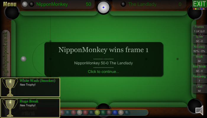 In Game Snooker Trophies - Pub Snooker - Screen Shot