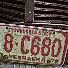 The Corn Husker State by Penny VanAtta - Transportation Automobiles ( rusted, plate, auto, nebraska, antique )