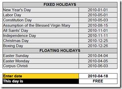 Calendar in Calc spreadsheet (algorithmic version)