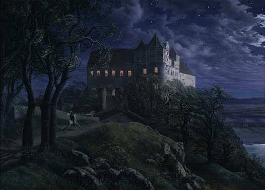 Burg Scharfenberg At Night was painted by Ernst Ferdinand Oehme in 1827. This painting uses dark colors and light positioning to show it is a night scene. The moon is just out of the shot but its presence is obvious. The combination of wind in the trees, a lone rider galloping towards the castle, and lights on in some of the windows add to the mystery of the painting. The closer one looks the more details are revealed. There are some people in the lit windows, and down towards the right bottom corner of the paining there is a boat on the river and a town situated a small distance from the shore. The painting is full of details and mystery.