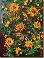 Желтые цветы, под хохлому