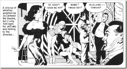 cute girl struts across movie set Frank Frazetta romance comics