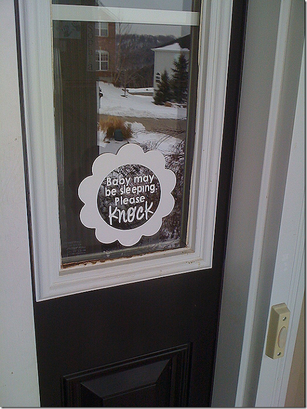 baby may be sleeping please knock vinyl sign 1