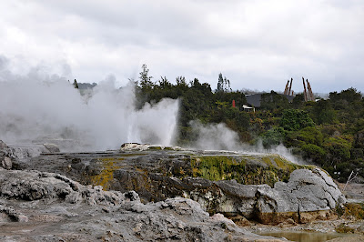 view of geysers from Geyser Lookout