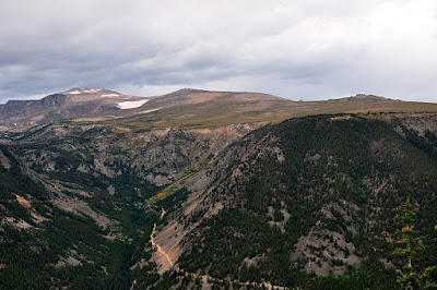Hellroaring Road as seen from Rock Creek Vista point on the Beartooth Highway (route 212) out of Red Lodge, MT
