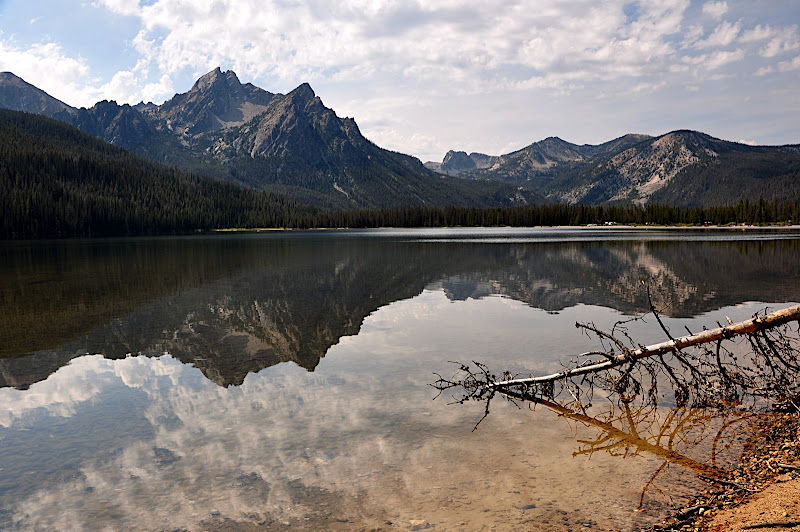Sawtooth Mountains reflected in Lake Stanley