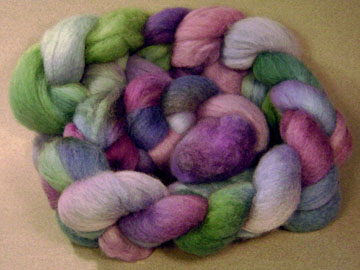 falkland roving, green and purple
