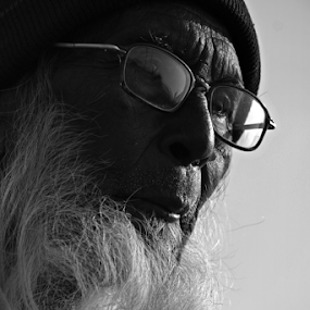 Another Philosopher by Abhishek Mandal - People Portraits of Men ( face, philosopher, old, lines of life, thought, wrinckles, powerful, aged, thinking, mature, glass, beard, old man,  )