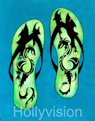 Dragon Tattoo Flip Flops