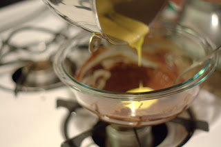 picture of egg yolk mixture added to chocolate mixture