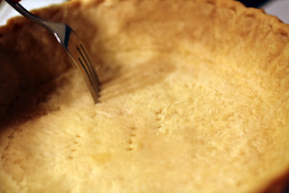 picture of pie crust punctured with fork