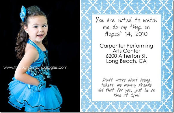 recital card