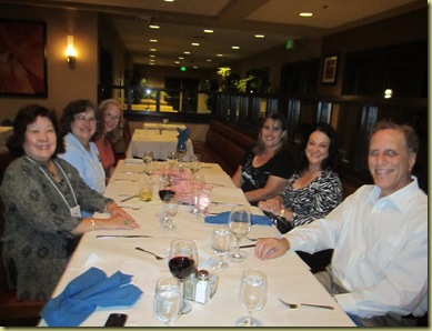 Vickie Kennedy, Nona, Glenda Johnson, Morgan Watkins, Susie Cherry and myself at the table during dinner.