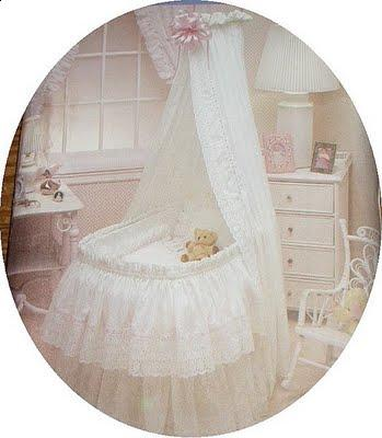 bulk of the skirt wraps around the bassinet and your veil hangs as a head draping