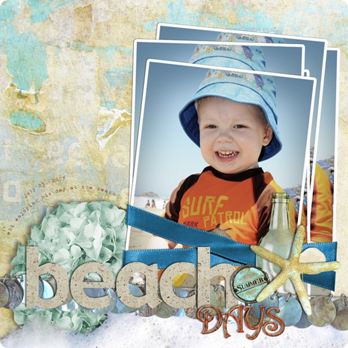 Layout by Laurel Lakey uses Seascape Collection Biggie, ScrapSimple Tools - Actions: Stacked 6501, ScrapSimple Tools - Styles: Sand 6501, ScrapSimple Embellishment Templates: Sweet Flowers, and By the Sea Collection Mini.