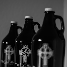 by Tim Mikolajczyk - Artistic Objects Glass ( growler, beer, black and white, symmetry, bottles )