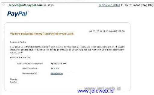 email Transfer Paypal ke BCA