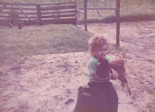 chicken, me holding