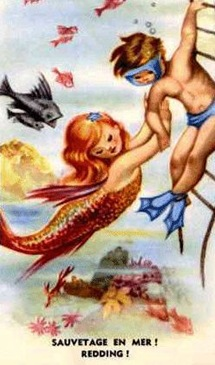 vintage mermaid and boy
