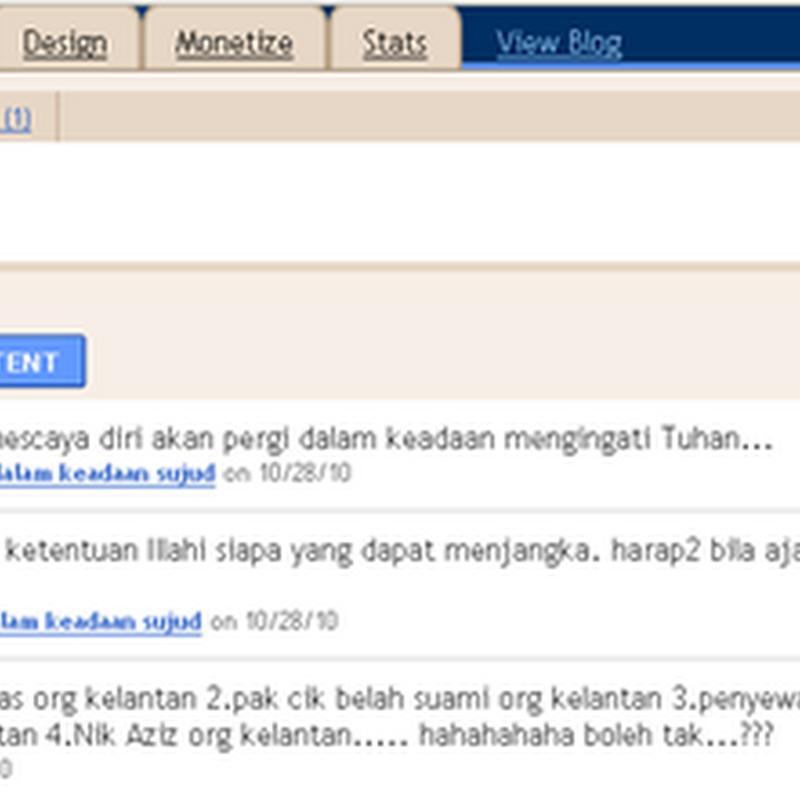 Jumlah terkumpul komen sejak mula blogging ..