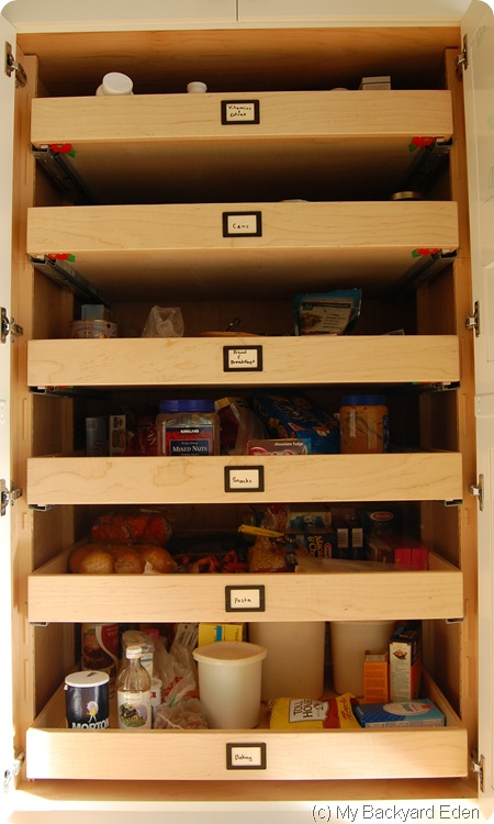 labeled pantry shelves