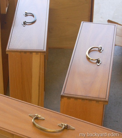 dovetail drawers and heavy brass hardware