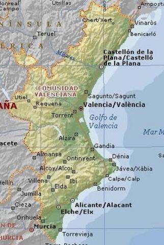 недвижимость в Испании, карта сообщества Валенсия