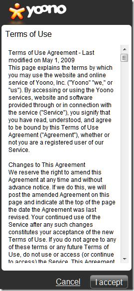 I accept Yoono