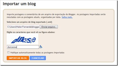Importar para o Blogger