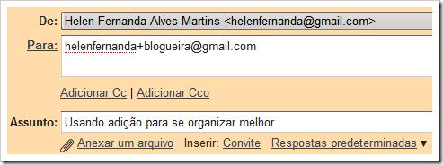 Usando adição no Gmail