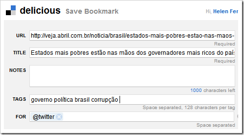 Escolha os bookmarks não tuitáveis
