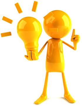 Boneco amarelo com ideia