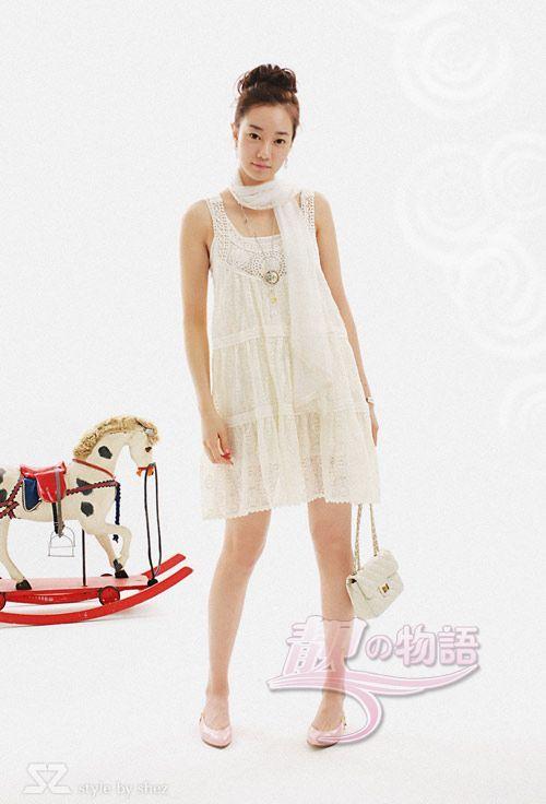 钩织花吊带连衣裙连衣裙