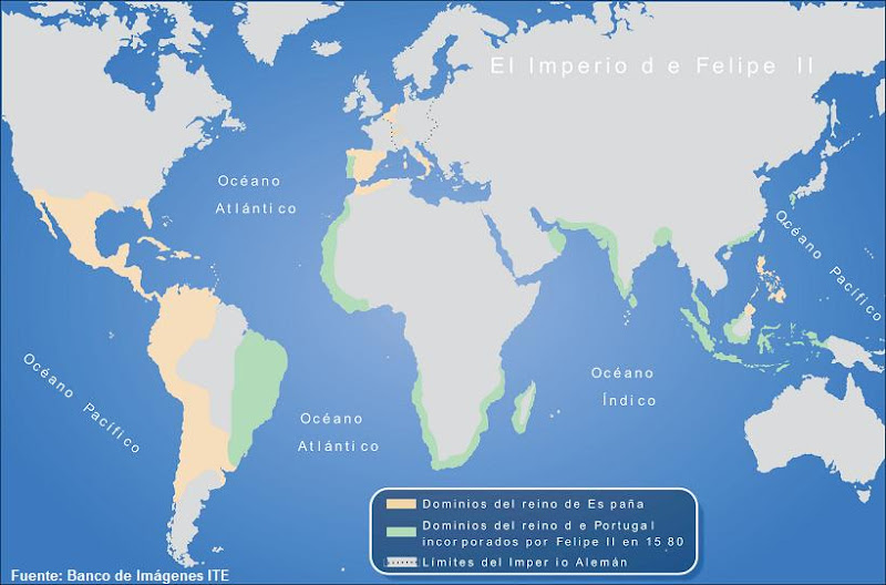 Mapa de los territorios de Felipe II