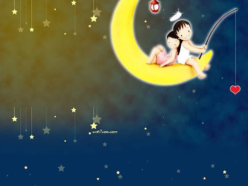 - Luna - niños - amor - parejas - tierno - corazones - ángeles ...