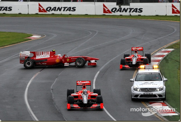 28.03.2010 Melbourne, Australia,  Fernando Alonso (ESP), Scuderia Ferrari gets overtaken by the safety car - Formula 1 World Championship, Rd 2, Australian Grand Prix, Sunday Race - www.xpb.cc, EMail: info@xpb.cc - copy of publication required for printed pictures. Every used picture is fee-liable. © Copyright: Davenport / xpb.cc
