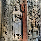 A clear look at the height difference between traditional pleated skirt style Devata (center) and Angkor Wat style (left and right), at Thommanon , Siem Reap, Cambodia. http://www.Devata.org